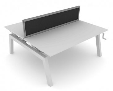 Elevate height adjustabe bench workstation with fabric screen