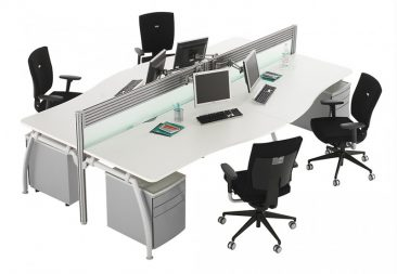 Intrigue single wave desks with toolrail screens