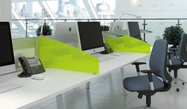 Linnea bench system with toolrail screen and acrylic dividers