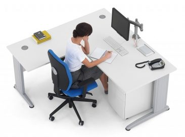 Pulsar straight desk with return