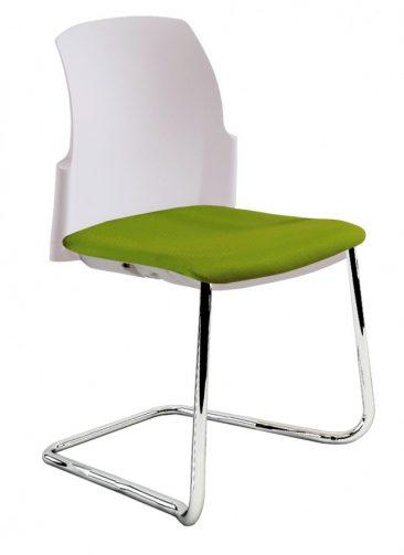 Leola cantilever side chair upholstered seat moulded back