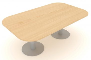Optima Plus large soft rectangle meeting table with circular feet