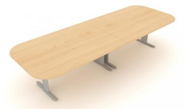 Optima Plus large soft rectangle meeting table with two piece top