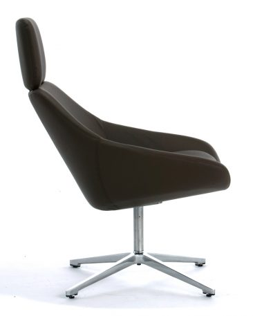Open high back with swivel base upholstered in leather
