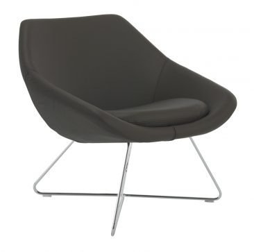 Open lounge chair with wire base upholstered in leather
