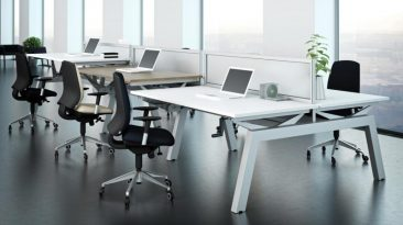 Elevate height adjustable desks with acrylic screens