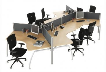 Intrigue 120 degree workstations with fabric screens