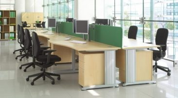 Pulsar single wave desks with fabric screens