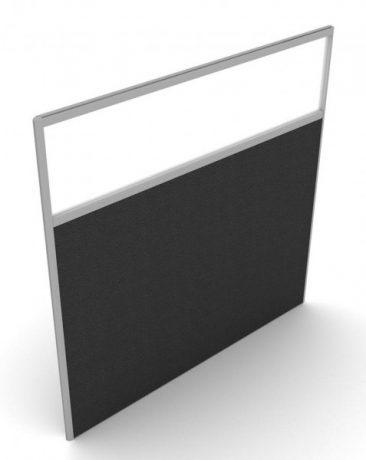 Floor standing fabric screen with glazed panel