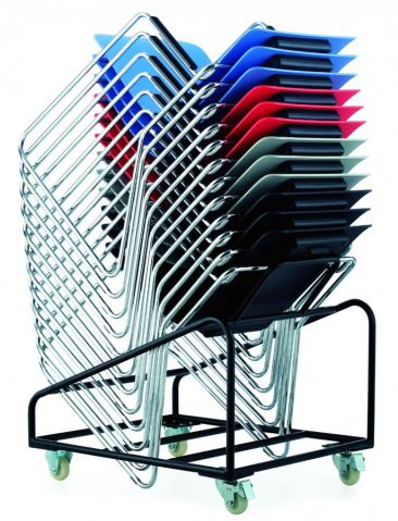 Switch chairs stacked on a trolley