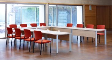 Chameleon rectangular tables with modesty panels