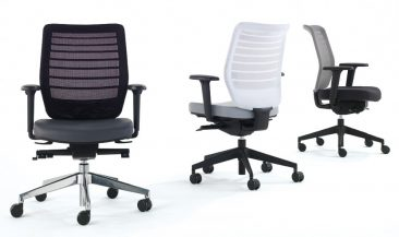 Fuse office chairs with black white and grey mesh back options