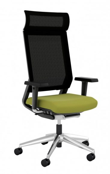 ISit office chair with headrest upholstered seat and mesh back