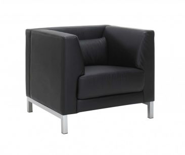 Rimini armchair in leather upholstery
